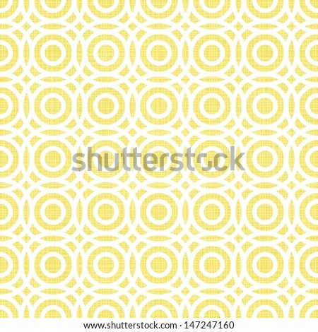 retro multiple white circles in rows on sunny yellow background abstract geometric seamless pattern  - stock vector