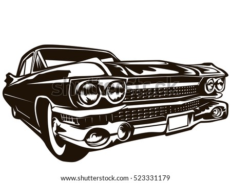 Retro muscle car vector illustration vintage poster of reto car old mobile isolated on