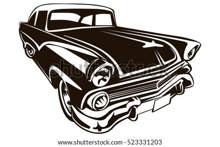 retro muscle car vector illustration vintage stock vector 523331203 rh shutterstock com classic car vector graphics classic car vector graphics