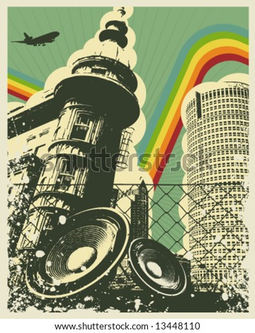Retro Music City Vector Illustration - stock vector
