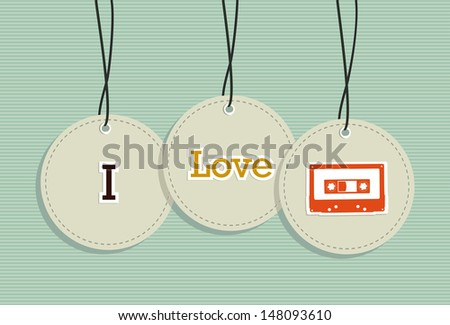 Retro Music design elements hang tags set. Vector file layered for easy manipulation and custom coloring. - stock vector