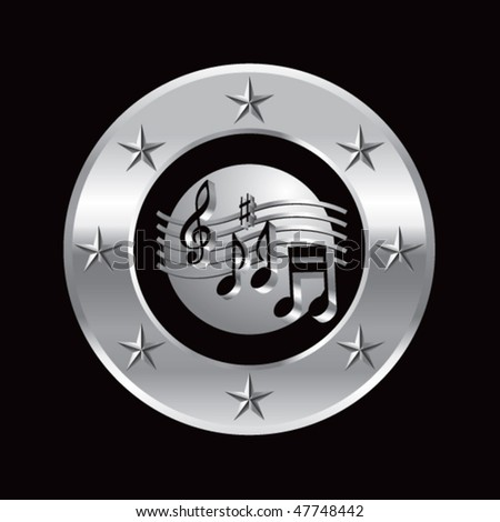 retro music notes round silver star frame