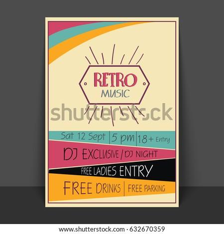 Retro Music Party Celebration Flyer Template Stock Vector 632670359