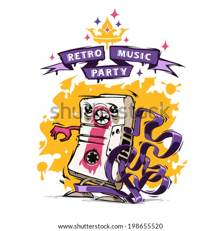 Retro Music Party Poster. In the EPS file, each element is grouped separately. Isolated on white background. - stock vector