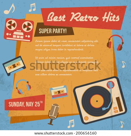 Retro music poster with vintage vinyl player headphones icons vector illustration - stock vector