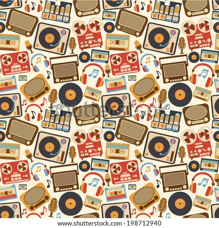 Retro music seamless pattern with vinyl player cassette recorder vintage microphone vector illustration - stock vector
