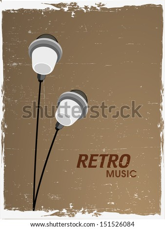 Retro musical background with earphone. - stock vector