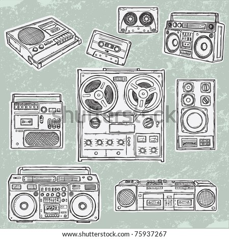 Retro musical equipment. A collection of stylish vector images of old tape recorders. - stock vector