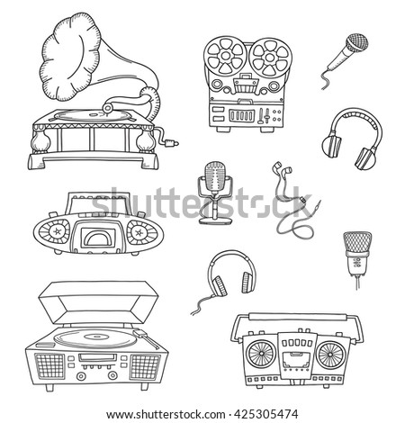 Retro musical equipment. Collection of stylish vector black and white images of old tape recorders, gramophone and microphones isolated on white. Sketch style.