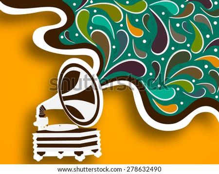 Retro musical instrument (gramophone) on stylish background. - stock vector