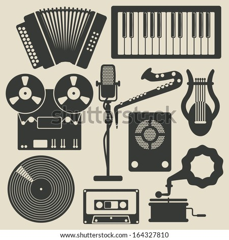 retro musical instruments icons set. vector illustration - stock vector