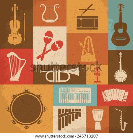 Retro Musical Instruments Icons. Vector illustration