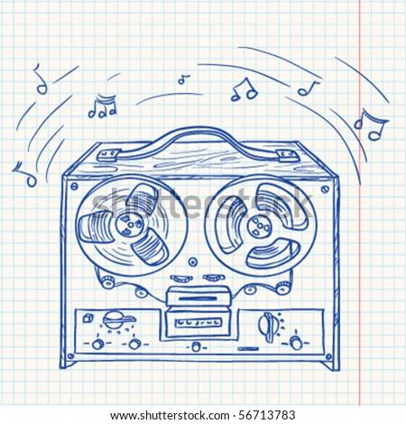 Retro Musical player (tape recorder) - stock vector