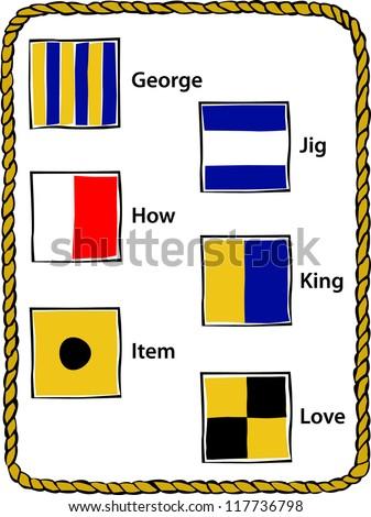 Retro Nautical Alphabet Flags G - L Vector Illustration - stock vector