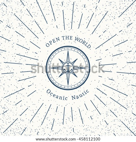 Retro nautical lineart label with compass. Vector template for logo design of travel agencies, tourist offices, boat rental or cruise.