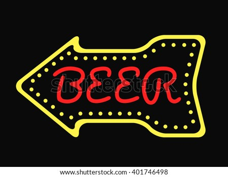 Retro neon sign bar and vintage electric arrow pub sign symbol. Pub sign bar or cafe glowing street illuminated lamp. Neon bar cocktail pub sign glowing street illuminated symbol vector illustration. - stock vector
