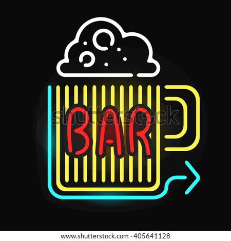Retro neon sign beer bar and vintage electric arrow beer glass  pub sign. Pub sign bar or cafe glowing street illuminated lamp. Neon bar beer pub sign glowing street illuminated symbol vector. - stock vector