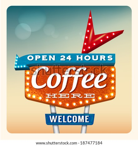 Retro Neon Sign Coffee lettering in the style of American roadside advertising vintage style 1950s - stock vector
