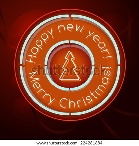 Retro Neon Sign Happy New Year and Merry Christmas lettering 1950s - stock vector