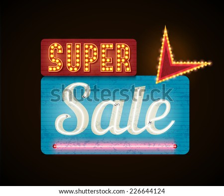 retro neon super  sale glowing banner - stock vector