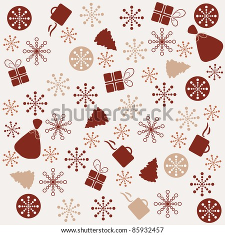 Retro New Year background made with different elements - stock vector