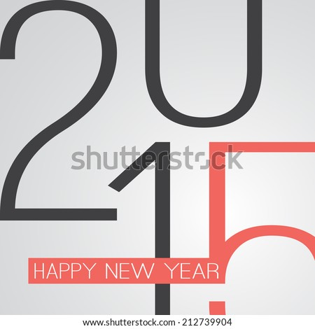 Retro New Year Card - 2015 - stock vector