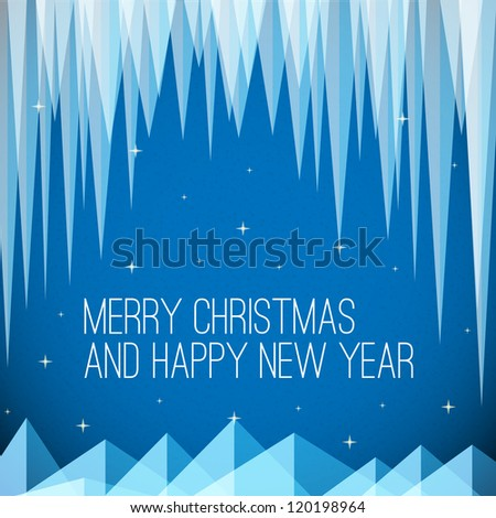 Retro night minimalistic Christmas card with icicles and snowy mountains - stock vector