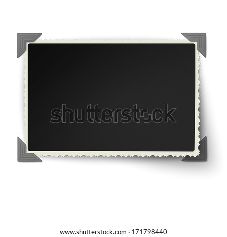 Retro not straight edges photo frame with one not fixed corner in vintage photo corners isolated on white background - stock vector