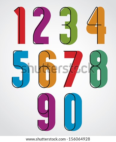 Retro numbers, bold condensed numerals set. Includes 2 versions bold and narrow, you can use it in 2 ways - combined or separately.