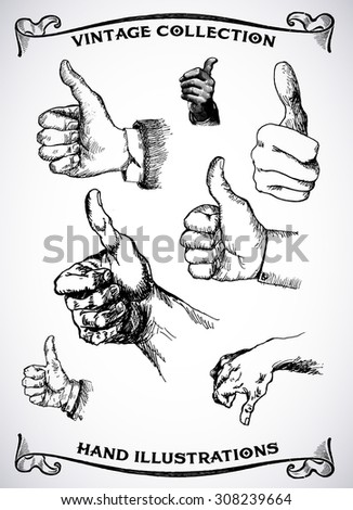 Retro OK thumb up and down hand gesture set. Illustrations in engraving style, vector format - stock vector