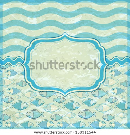 Retro Old Marine Card with Label Frame and Place for Text. Vector Nautical Banner - stock vector