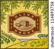 Retro Olive Grove. Editable vector illustration. - stock photo
