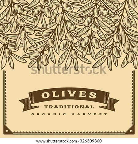 Retro olive harvest card brown. Editable vector illustration with clipping mask. - stock vector