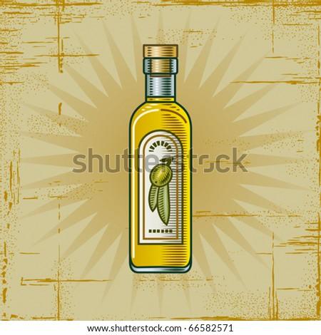 Retro Olive Oil Bottle. Vector - stock vector