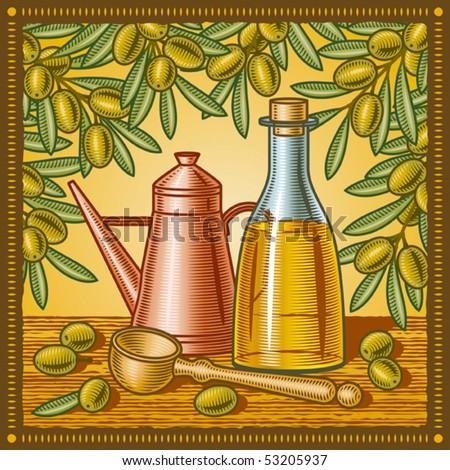 Retro olive oil still life. Vector - stock vector