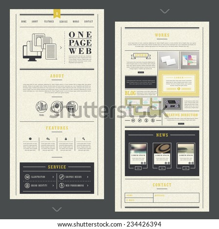 retro one page website template design with paper texture - stock vector