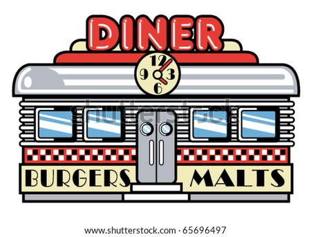 "Retro or vintage fifties style diner or restaurant with the signs ""burgers"" and ""malts"" on the front."