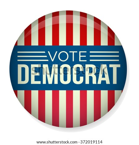Retro or Vintage Style Vote or Voting Campaign Election Pin Button or Badge.  Use this pin on infographics, blog headers, flyers, or web pages.  Or print it out and create a real pin or badge! - stock vector