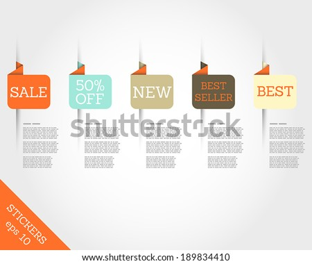retro origami rounded square stickers. sale concept. - stock vector