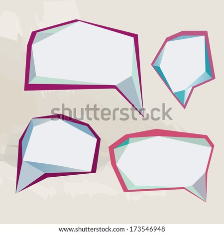 Retro origami speech bubble, vector abstract background - stock vector