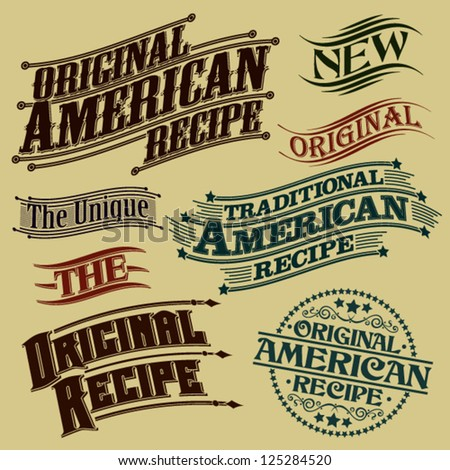 Retro Original Recipe Calligraphic Designs - stock vector