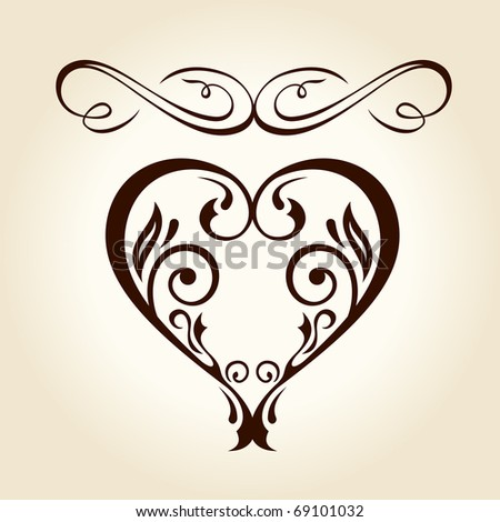 retro ornament calligraphic curves elements vector illustration - stock vector