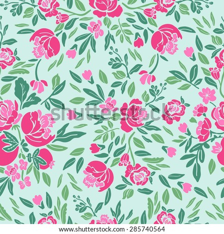 Retro ornate floral pattern. Hand drawing. Seamless for fabric design, gift wrapping paper and printing and web projects.