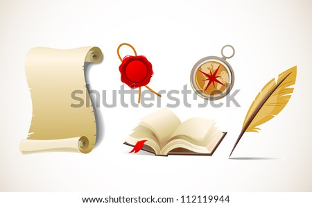 Retro paper, feather, compass and book - vector icon set - stock vector