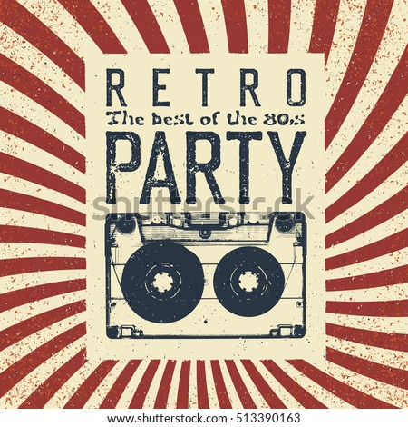 Retro party advertising flyer old audiocassette stock for Retro images