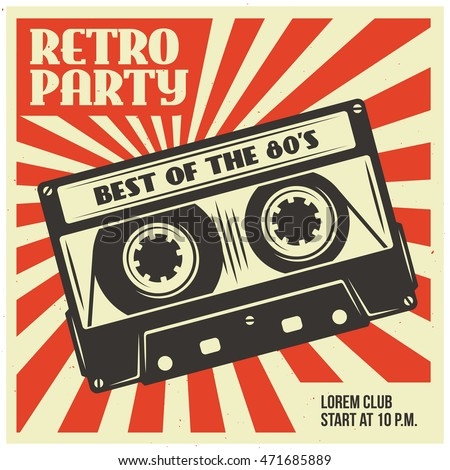Retro Party Advertising Audio Cassette Old Stock Vector