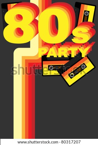 Retro Party Background - 80s Sign and Audio Tape on Dark Grey Background - stock vector