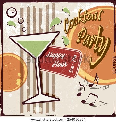Retro party background with cocktail glass - Happy Hour drink - stock vector