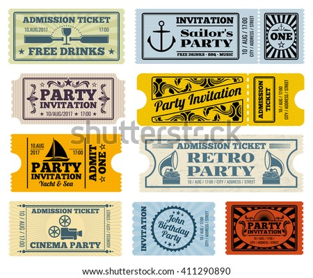 Retro party, cinema, invitation vector tickets set. Invitation ticket, retro ticket cinema, event ticket paper template illustration - stock vector