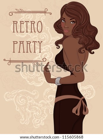 Retro party invitation design (Glamour african american lady in evening dress holding clutch). Vector illustration. - stock vector